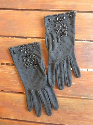 Glamorous black vintage dress gloves with beaded front size 7.5