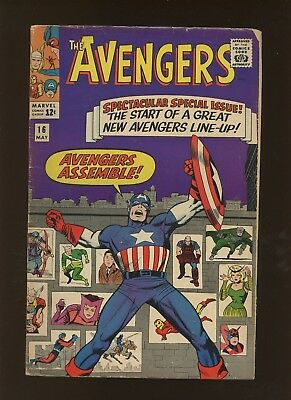 Avengers 16 VG+ 4.5 * 1 Book Lot * Roster Changes! Stan Lee & Jack Kirby!