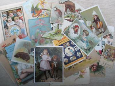 E3 Vintage Lot Ephemera Trade Cards Cut Outs for Crafts, Scrapbooking, Decoupage