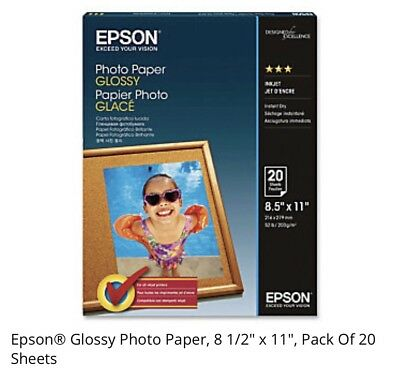 Epson Glossy Photo Paper, 8.5 x 11 Inches, 50 Sheets per Pack (S041649)