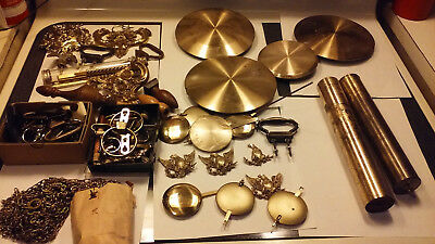 Lot of SETH THOMAS antique clock parts pendulums weight chains parts eagles ect.