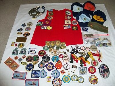 Boy Scouts Cub Webelos Pins Badges Loop Medals Patches Caps Belts Vest Lot