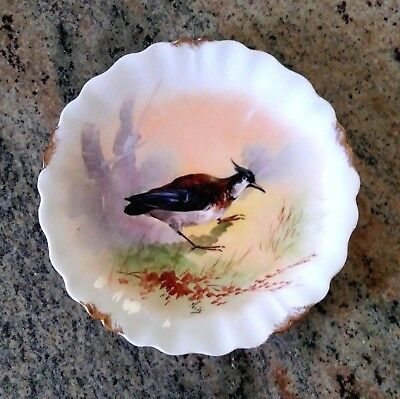 Antique LS &S Limoges France Hand Painted Bird Scene Signed Porcelain Plate