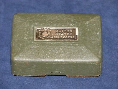 Original WWII USMC Soap Dish Metal with Enameled Interior
