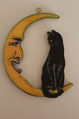 Black Cat Sitting on Moon * Halloween Ornament * Vtg Card Image * Glitter