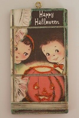 Kids & JOL in a Window * Halloween Ornament * Vtg Card Image * Glitter