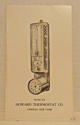Vintage The Howard Thermostat, Oswego, NY Brochure, Illustrated, Adv.-4 Pages