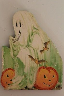 Ghost & JOL's * Halloween Ornament * Vtg Card Image * Glitter