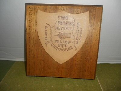 Two Rivers District NCAC Fellowship Camporee 1988 Wood & Leather Plaque