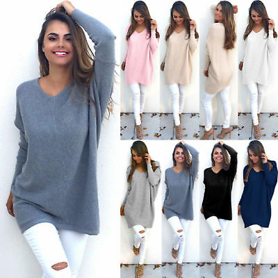 Fashion Womens Long Sleeve Plain Pullover Ladies Tops Winter Knit Sweater Jumper