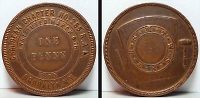 1873 CHALDEAN CHAPTER No 265 R.A.M. BROOKLYN, NY MASONIC TOKEN, ONE PENNY