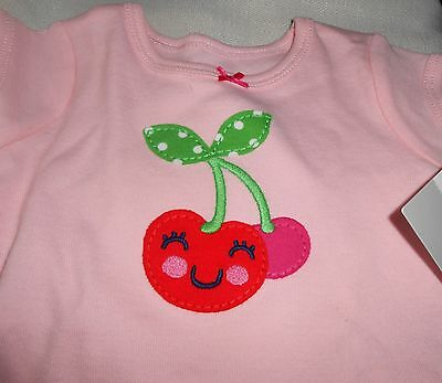 CARTER'S T-Shirt Girl Size 3 Month Pink with Cherry Short Sleeve NEW MSRP $12