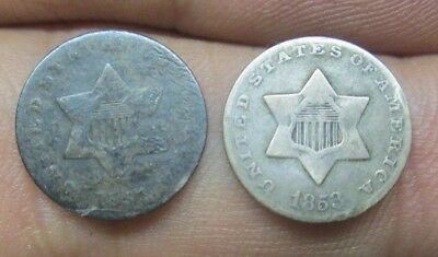 1851 & 1853 United States Three Cents Silver Coins No Reserve