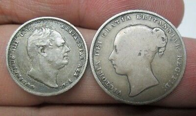 Great Britian 1834 George IV Six Pence & 1856 Queen Victoria One Shilling Coins