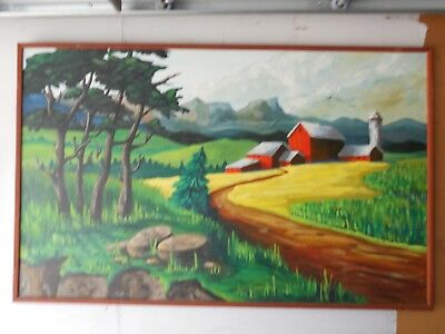 """Country Farm Oil on board Painting 49""""wide by 31""""in the style, Roy Lichtenstein"""