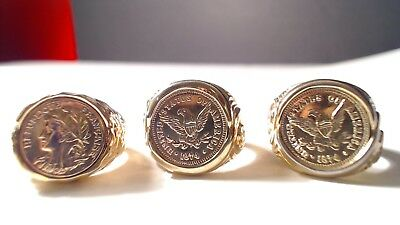 3 Vintage Coin Rings (2) United States of America 1874 & (1) French 18k GE.