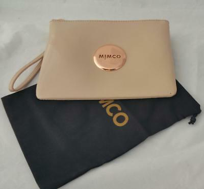 MIMCO MEDIUM POUCH PANCAKE Leather Rose Gold Badge - CLEARANCE (Defects)