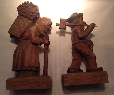 """Vintage Hand Carved Figures """"wood Chopper And Wife"""""""