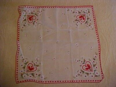 Vintage Valentine Hanky W Pink Roses White Daisies Red Heart