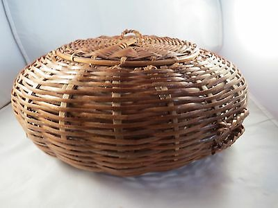 Antique Vintage Lacquered Bamboo Splint Round Flat Disc Sewing Basket w Lid.