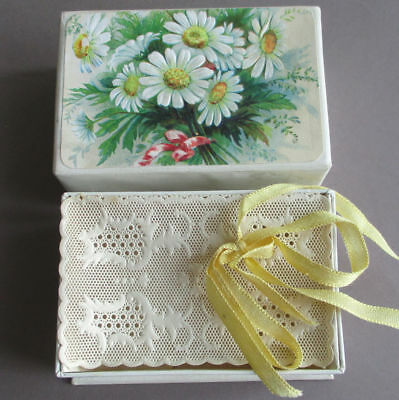 """Antique 3"""" Dresden Cardboard Paper Covered CANDY BOX Paper Lace Lining * DOLL"""