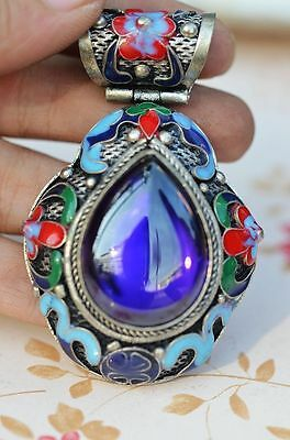Exquisite Chinese Old Silver & Enamel Inlay Purple Zircon Handwork Pendant