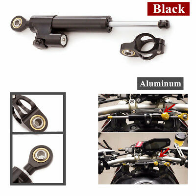 Black CNC Steering Damper Motorcycle Stabilizer Linear Reversed Safety Control