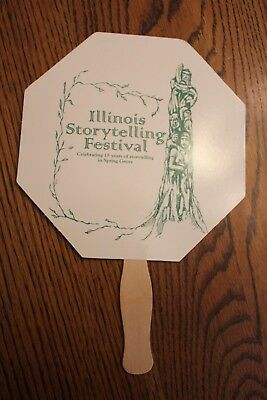 Illinois Storytelling Fesitival 15 yrs Vintage Cardboard Hand Fan Advertisement