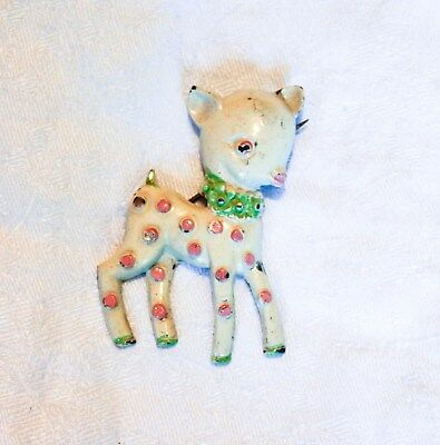 Antique Vintage Metal Painted Lamb Sheep Pin Brooch White Pink Polka Dots