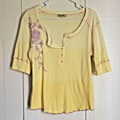 One World Women's Top Size XL Yellow Ombre Oink Purple Floral 100% Cotton Henley