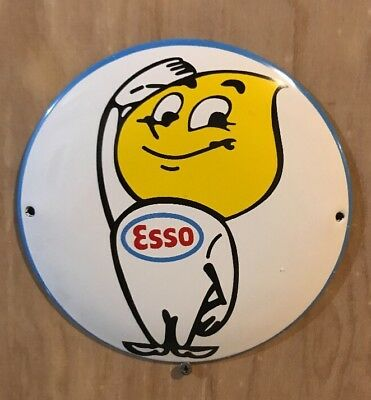 Esso Gasoline round Plate gas station Porcelain Oil Advertising Sign