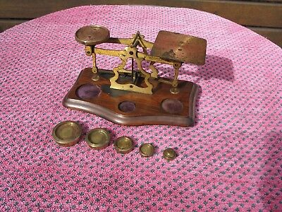 Vintage Brass Post Office Scales & Weights. In good condition.