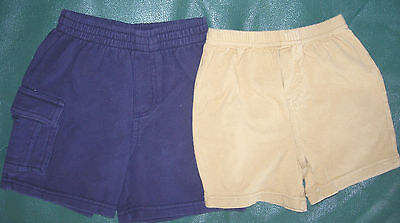 18 month boys lot of 2 pair shorts-1 beige by Carter's & 1 navy blue by Circo