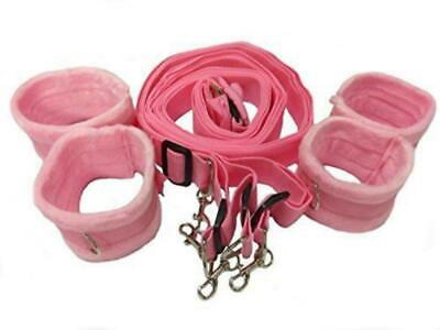 Purple Under Bed Nylon Straps with Four Detach Cuffs Role Play Set Pink