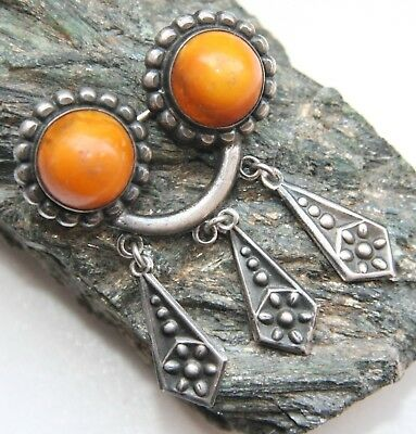 Antique Vintage Ethnic Silver Brooch Pin Sakta Fibula With Amber And Pendants