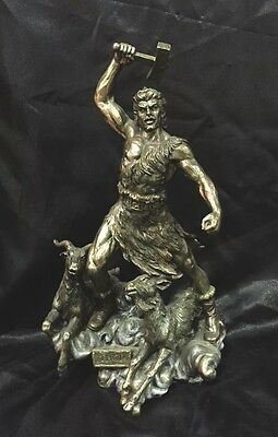 Bronze Coated Statue Of Norse God Thor 30Cm Tall