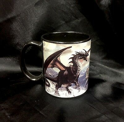"Designer Tom Wood Ceramic Coffee Mug "" Rogue Dragon "" Gothic Fantasy"