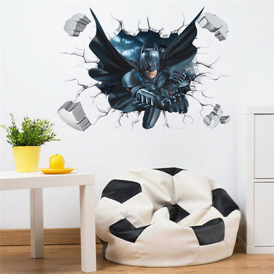 Large 3d Effect Batman Removable Wall Sticker Decal For Kids Boys Rooms