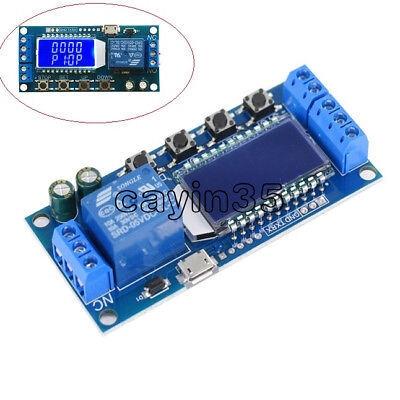 LCD Time Delay Relay Module Power off Trigger Cycle Timming Circuit Switch UK