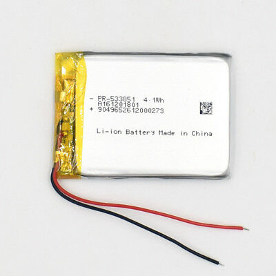 3.7 V 1200mAh 533851 Li-Polymer Rechargeable Battery Liion LiPo Cell for GPS MP3