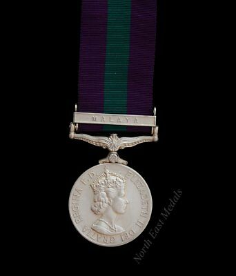 General Service Medal 1918-62 EIIR Clasp Malaya. 15/19th Hussars