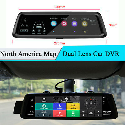 10'' GPS Car DVR 4G WiFi Rearview Mirror Video Recorder ADAS North America Map