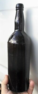 RUSTIC 1870s Victorian Goldfields Found BLACK BEER Bottle HAND MADE LEANING GC!