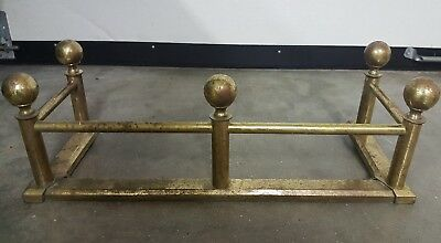 Vintage Brass 'Ball & Stick Style' Fireplace Hearth Fender, Rare Small Size!
