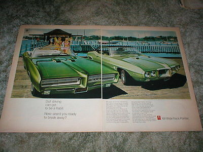 1969 PONTIAC GTO Convertible Ad V8 400 Muscle car , Firebird ad Wide Track