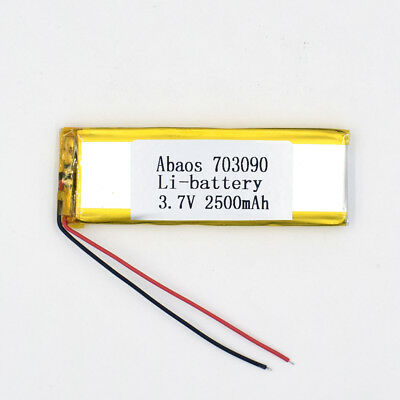 3.7V 2500mAh 703090 Li-Polymer Rechargeable Cell Li-ion LiPo Battery for GPS MP3