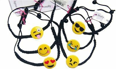 6 Smiley Emoji Bracelets UNISEX Girls Boys Party Bag Fillers Favours Wristbands