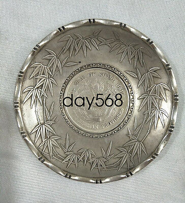 Chinese fengshui tibet silver Bamboo festival dragon statue coin Plate LJQ706