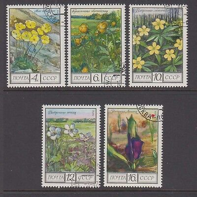 Russia 1975 Flowers cancelled to order  set 5  stamps.