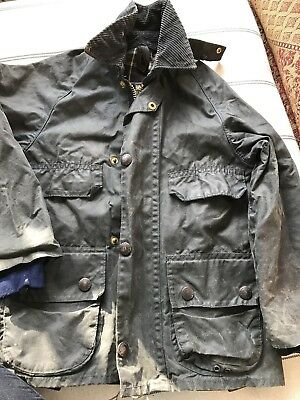 Childrens Kids Barbour Wax Jacket Bedale Navy Used Age 6